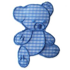 BABY BLUE GINGHAM TEDDY MOTIF IRON ON EMBROIDERED PATCH APPLIQUE